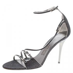 Salvatore Ferragamo Grey/Silver Glitter Lizard Buckle Detail Open Toe Sandals Size 39 - used