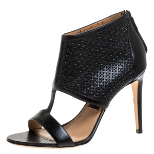Salvatore Ferragamo Black Perforated Leather Pacella Open Toe Sandals Size 38.5 - used