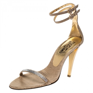 Salvatore Ferragamo Gold Snakeskin Tirosana Ankle Strap Sandals Size 39.5 - used