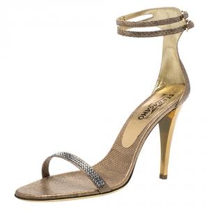 Salvatore Ferragamo Gold Snakeskin Tirosana Ankle Strap Sandals Size 40.5 - used