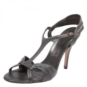 Salvatore Ferragamo Metallic Grey Snake Embossed Leather Linda Sandals Size 40.5 - used