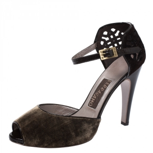 Salvatore Ferragamo Brown Cut Out Suede And Velvet Rarete Ankle Strap Sandals Size 41 - used