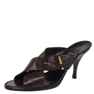 Salvatore Ferragamo Dark Brown Leather Criss Cross Buckle Sandals Size 41