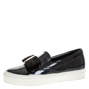 Salvatore Ferragamo Black Patent Leather Bow Slip On Sneakers Size 36.5 - used