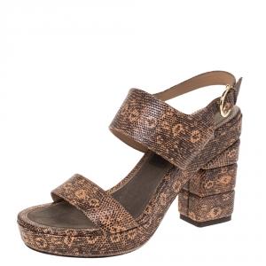 Salvatore Ferragamo Black/Peach Snakeskin Embossed Leather Madrina Platform Sandals Size 39 - used
