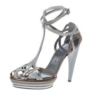 Salvatore Ferragamo Multicolor Leather T-Strap Platform Ankle Strap Sandals Size 38.5 - used