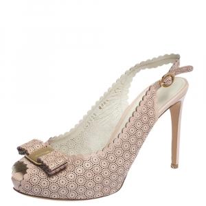 Salvatore Ferragamo Pink Laser Cut Scalloped Trim Leather Peep Toe Slingback Sandals Size 38 - used
