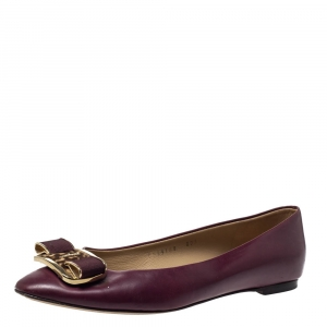 Salvatore Ferragamo Burgundy Leather Bow Ballet Flats Size 38.5 - used