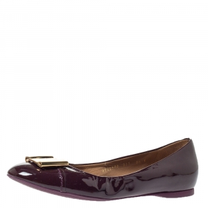 Salvatore Ferragamo Burgundy Patent Leather Sun Ballet Flats Size 40 - used
