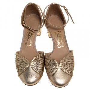 Salvatore Ferragamo Metallic Gold Woven Leather Edda Block Heel Sandals Size 36.5 - used