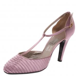 Salvatore Ferragamo Purple Pleated Satin T Strap Sandals Size 39.5 - used