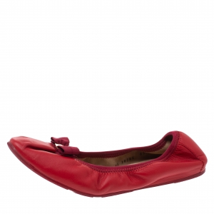 Salvatore Ferragamo Red Leather My Joy Scrunch Ballet Flats Size 38 - used