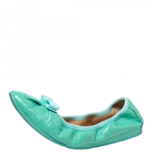 Salvatore Ferragamo Green Patent Leather Bow Slip On Ballet Flats Size 40.5 - used