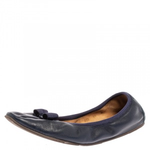 Salvatore Ferragamo Blue Leather Bow Scrunch Ballet Flats Size 40 - used