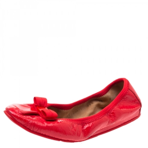 Salvatore Ferragamo Red Patent Leather My Joy Scrunch Ballet Flats Size 37 - used