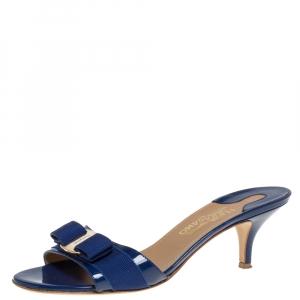 Salvatore Ferragamo Blue Patent Leather Vara Bow Open Toe Sandals Size 39