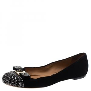Salvatore Ferragamo Black Suede Crystal Bow Ballet Flats Size 39.5