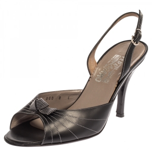 Salvatore Ferragamo Black Leather Slingback Sandals Size 38.5