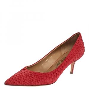 Salvatore Ferragamo Pink Python Leather Susi Pumps Size 39