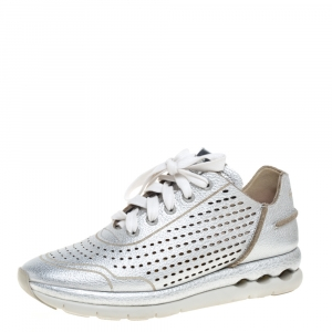 Salvatore Ferragamo Silver Perforated Leather Gils Sneakers Size 37.5