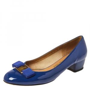 Salvatore Ferragamo Blue Patent Leather Vara Bow Pumps Size 38