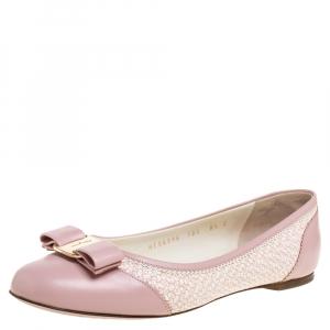 Salvatore Ferragamo Pink/White Leather Vara Bow Slip On Flats Size 39