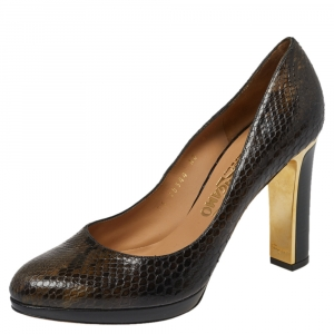 Salvatore Ferragamo Dark Brown Python Metal Heel Pumps Size 39