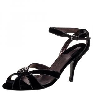 Salvatore Ferragamo Black Velvet Embellished Strappy Sandals Size 40.5 - used