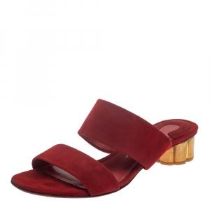 Salvatore Ferragamo Red Suede Belluno Flower Slide Sandals Size 37 - used