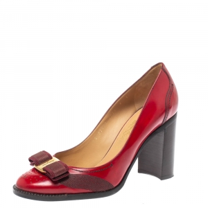 Salvatore Ferragamo Red Leather Ninna Bow Block Heel Pumps Size 38.5