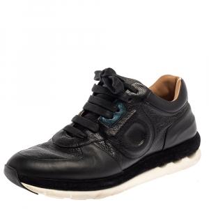 Salvatore Ferragamo Black Leather Low Top Sneakers Size 37.5 - used