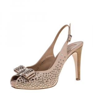 Salvatore Ferragamo Studded Beige Leather Louvre Scilla Bow Slingback Platform Sandals Size 37 - used
