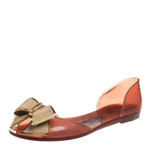 Salvatore Ferragamo Brown Barbados Bow Jelly Flats Size 38.5 - used