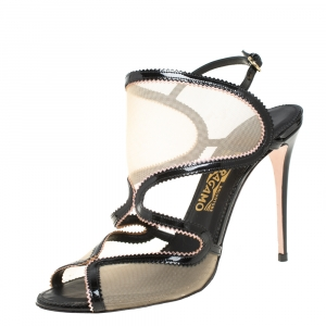 Salvatore Ferragamo Black Patent Leather And Mesh Cutout Ankle Strap Sandals Size 40 - used