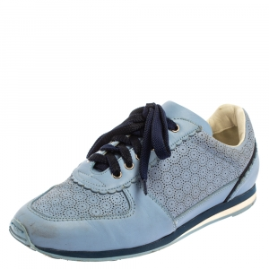 Salvatore Ferragamo Blue Perforated Leather Sneakers Size 36.5