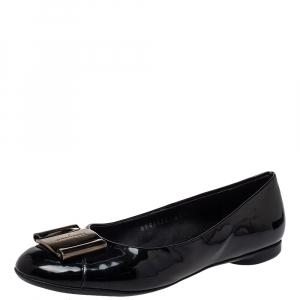 Salvatore Ferragamo Black Patent Leather Metal Buckle Ballet Flats Size 36.5