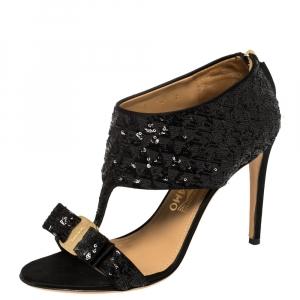 Salvatore Ferragamo Black Sequins And Satin Vara Bow Ankle Strap Sandals Size 38.5