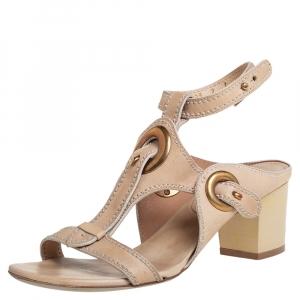 Salvatore Ferragamo Beige Leather Block Heel Ankle Strap Sandals Size 37.5 - used