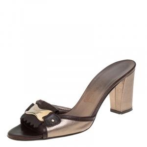 Salvatore Ferragamo Brown/Metallic Grey Leather Fringe Slide Sandals Size 38.5 - used