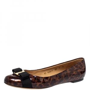 Salvatore Ferragamo Brown Tortoiseshell Print Patent Leather Varina Ballet Flats Size 39.5 - used