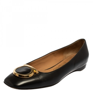 Salvatore Ferragamo Black Leather Ena Gancini Flats Size 36.5