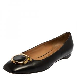 Salvatore Ferragamo Black Leather Ena Gancini Flats Size 36.5 - used