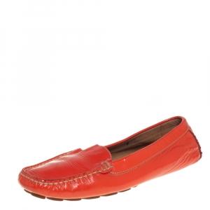 Salvatore Ferragamo Orange Patent Leather Slip On Loafers Size 38.5