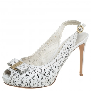 Salvatore Ferragamo White Perforated Leather Slingback  Sandals Size 39.5
