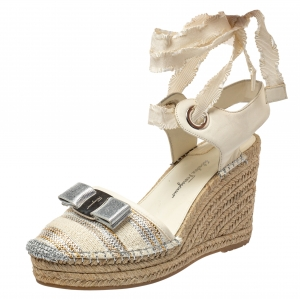 Salvatore Ferragamo Off White Canvas And Leather Bow Espadrille Wedge Sandals Size 38 - used