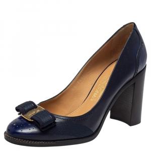 حذاء كعب عالي سالفاتوري فيراغامو كعب عريض فارا جلد كحلي مقاس 37.5