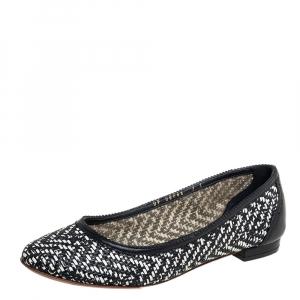 حذاء فلات باليه سالفاتوري فيراغامو جلد مغزول أبيض/ أسود مقاس 37.5