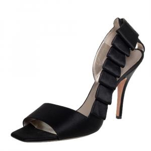 Salvatore Ferragamo Black Satin Open Toe Sandals 40 - used