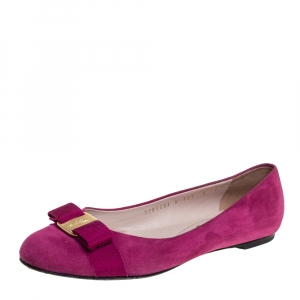 حذاء باليرينا فلات سالفاتوري فيراغامو مزين فيونكة فارا سويدي بنفسجي مقاس 38.5