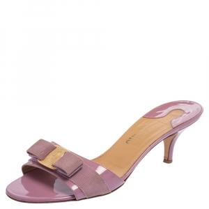Salvatore Ferragamo Lavender Patent Leather Vara Bow Slide Sandals Size 40 - used